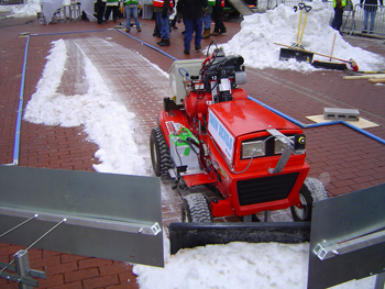 The Snow Devils autonomous snow plow in action