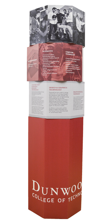 The standee is designed to rotate, allowing for viewer interaction as well as utilizing the entire space for attention grabbing graphics and information.