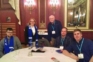 Stephanie Mages, ASHRAE Student Program Staff, is pictured with HVAC Program  Chuck Taft and students Kevin Clausen, Bill Bobick and Jared Courtney.