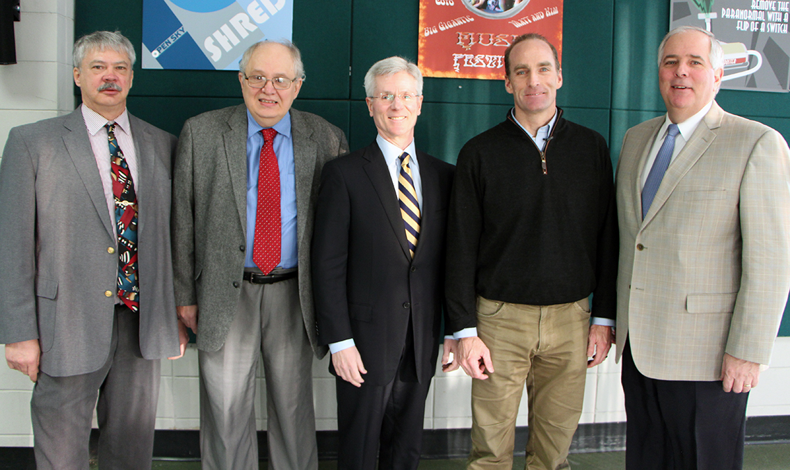 Photo of some of the key organizers of the Jackson Lecture Series. From left to right: Cutlines: 5281: Michael White, Dean of Applied Management; Richard Thomson, Assistant Provost; Board of Trustees Past Chair Ted Ferrara, '77 Refrigeration; Dr. Bruce Jackson, CEO of The Institute of Applied Human Excellence; and President Rich Wagner