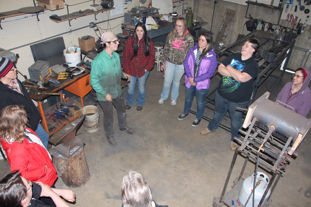 Nine Dunwoody women visited the woman-owned blacksmithing and metalwork shop Iron Maiden Metal Fabricating located in Minneapolis.