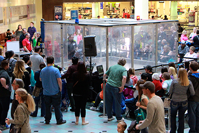 Crowd at Mall of America watching robot battles