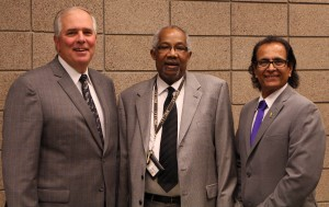 Dr. Whitney Harris poses with President Rich Wagner and Dr. Leo Parvis