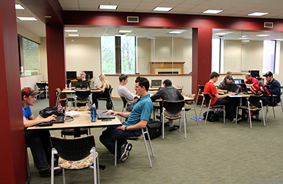 Students studying in the Elftmann Student Success Center