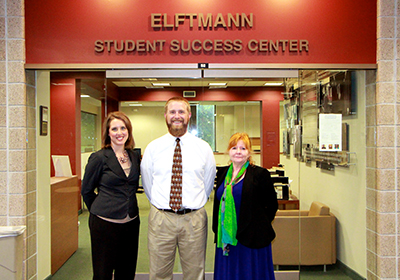 Elftmann Student Success Center staff left to right: Teresa Milligan, Ross Brower, Eeris Fritz