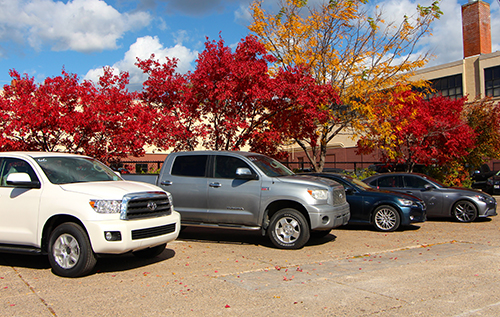 A photo of a 2015 Toyota Sequoia 4WD; 2007 Tundra 4WD w/ TRD Supercharger option; 2013 Lexus GS350 RWD; and 2014 Lexus IS250F.