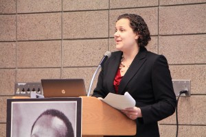 Minnesota Council on Foundations President Trista Harris speaks at Dunwoody's 75th Diversity Forum.