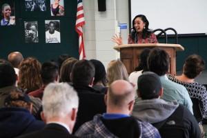 KSTP TV 5 Broadcast Journalist Cleo Greene speaks at February's Diversity Forum celebrating Black History Month.