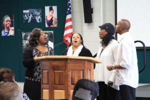 Kimberly Brown sings with her group of singers, Kimberly's Krew, at the February Diversity Forum celebrating Black History Month.