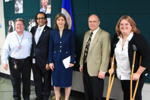 From left to right: Principal Instructor Karen Schmitt, Principal Instructor Leo Parvis, Attorney General Lori Swanson, Provost Jeff Ylinen, and Principal Instructor Jenny Saplis.