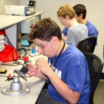 Photo of students wiring