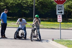 Students prepare to test their electric bikes.