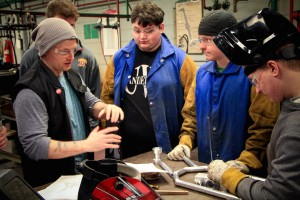 Engineering Drafting & Design students collaborate with Welding students to fabricate custom bike frames.