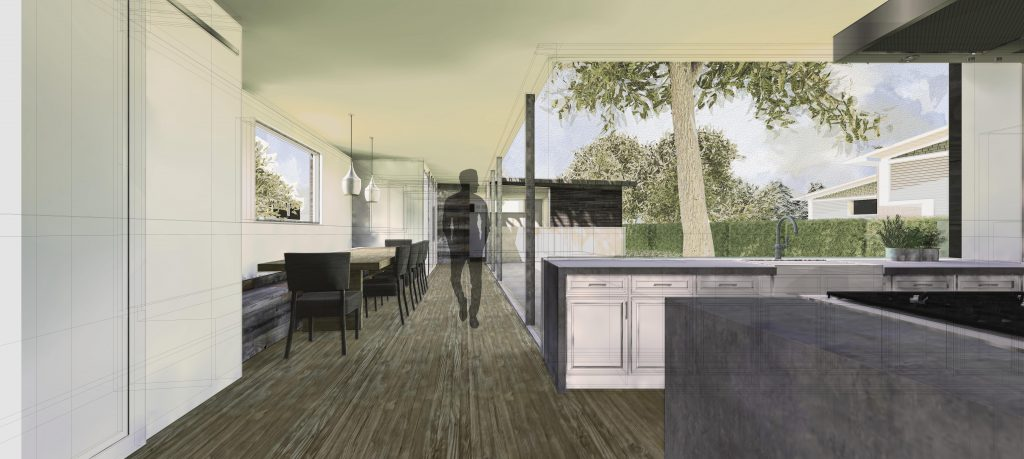 Interior rendering of the kitchen/dining area