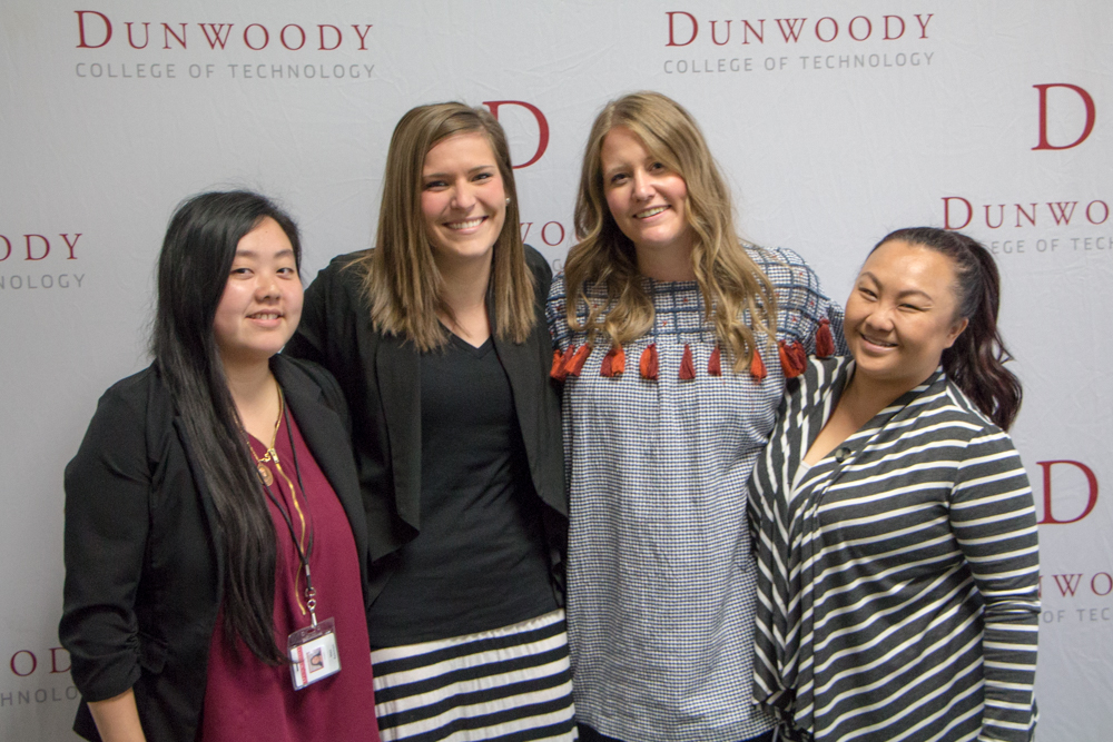 from left to right: Assistant Registrar Mao Rebman, Content Marketing Specialist Allie Swatek, Marketing Communications Coordinator Amanda Fons, and Admissions Counselor Macy Loja