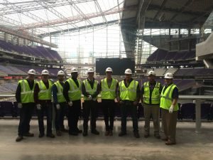 Dunwoody Electrical students touring the new U.S. Bank Stadium