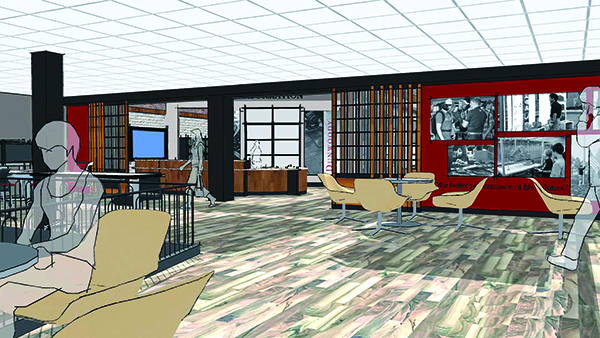 An architectural rendering showing a student study/meeting area just outside the entrance to a learning commons