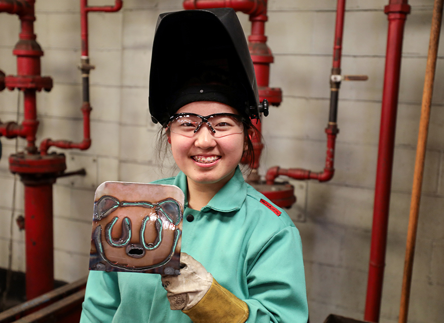 Photo of YCAP Student in Welding area.