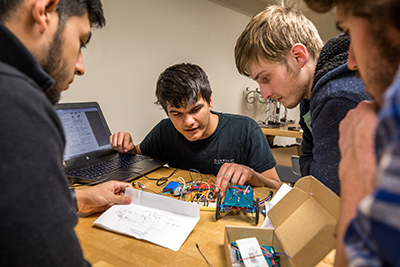 Engineering students test robotics components