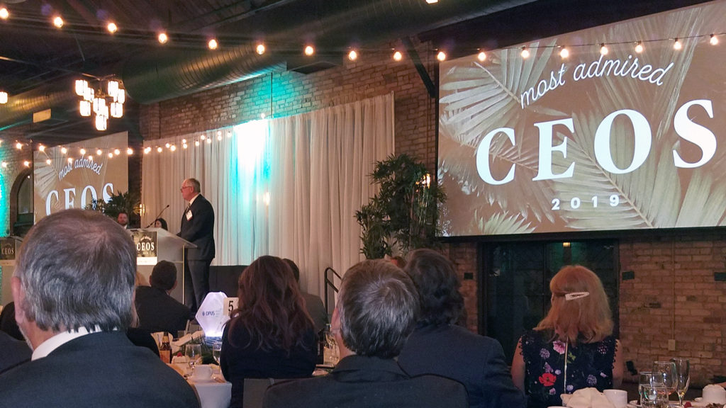 Dunwoody President Rich Wagner receives the 2019 Most Admired CEO Award