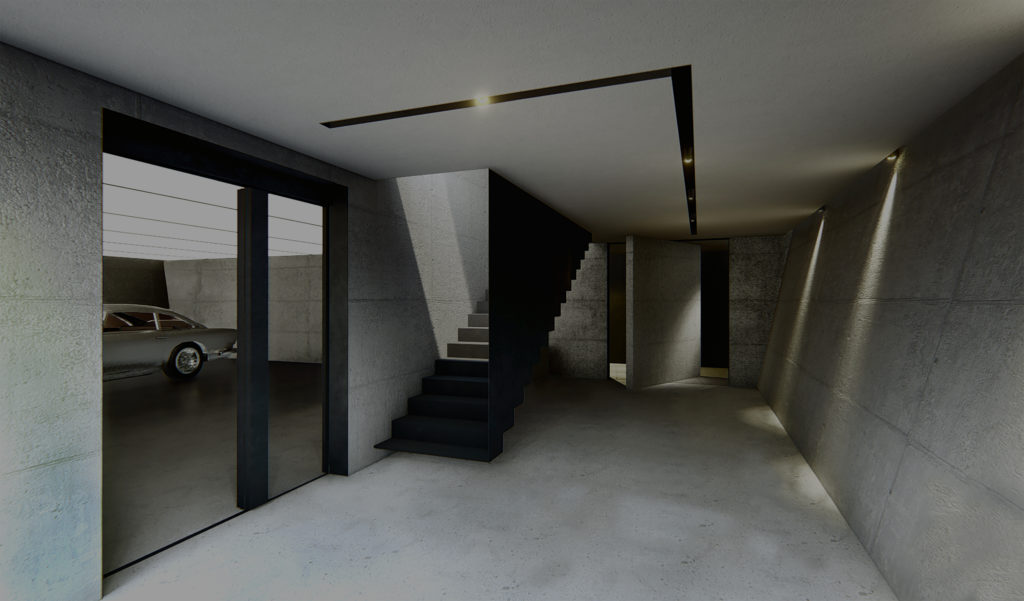 Architectural rendering showing entry of James Bond inspired home.