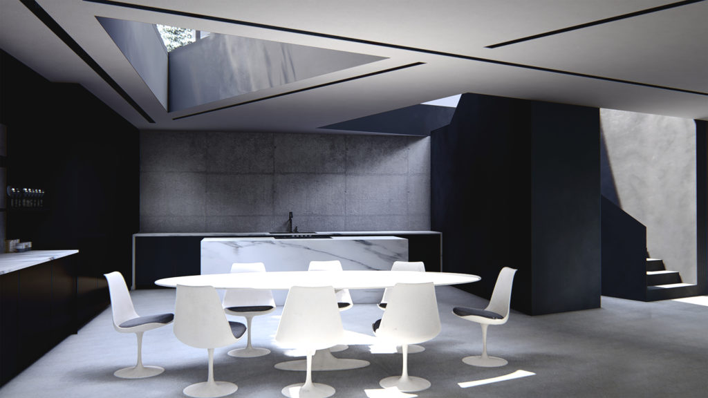 Architectural rendering showing kitchen of James Bond inspired home.