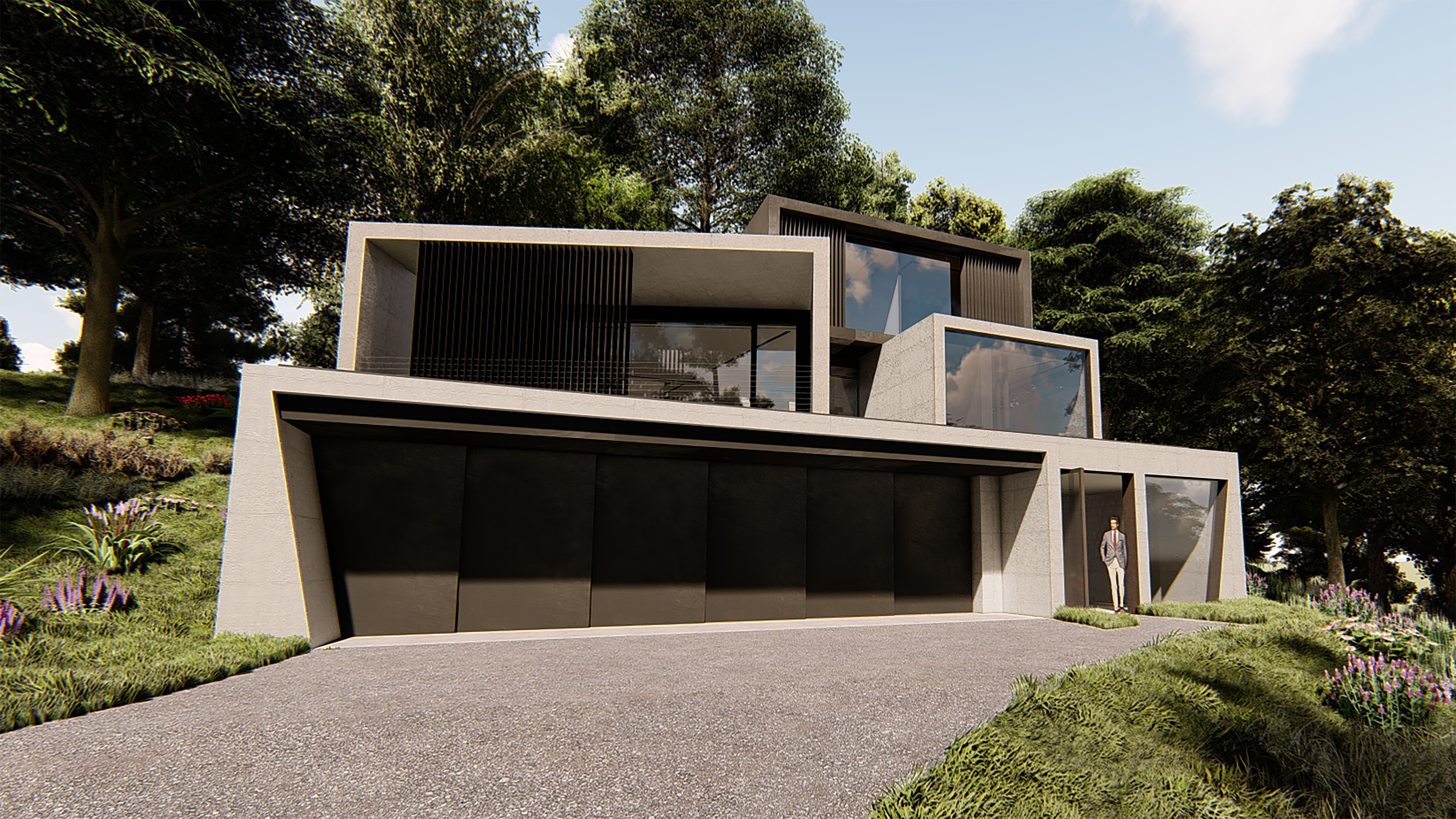 Architectural rendering showing Exterior shot of James Bond inspired home.