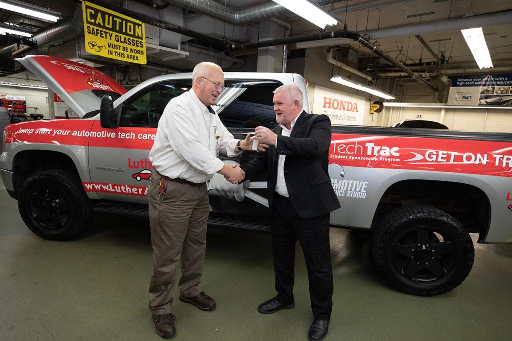 Automotive Dean receives keys to diesel truck