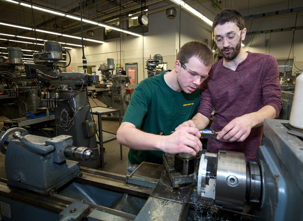 Working on the rotors in the machine shop.