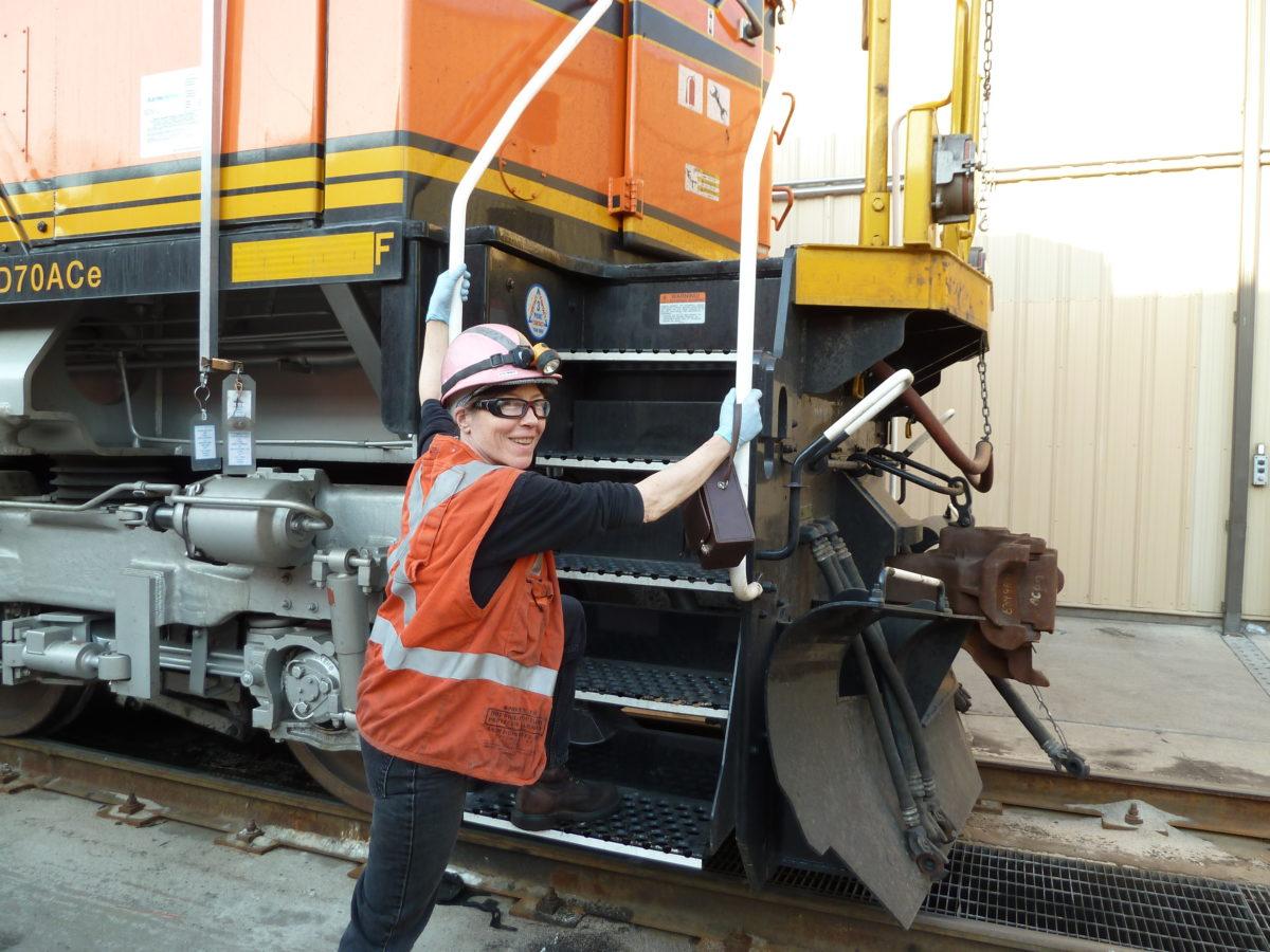 Terri Oestmann on railroad job site