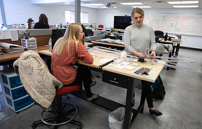 Students work in the Interior Design Studios