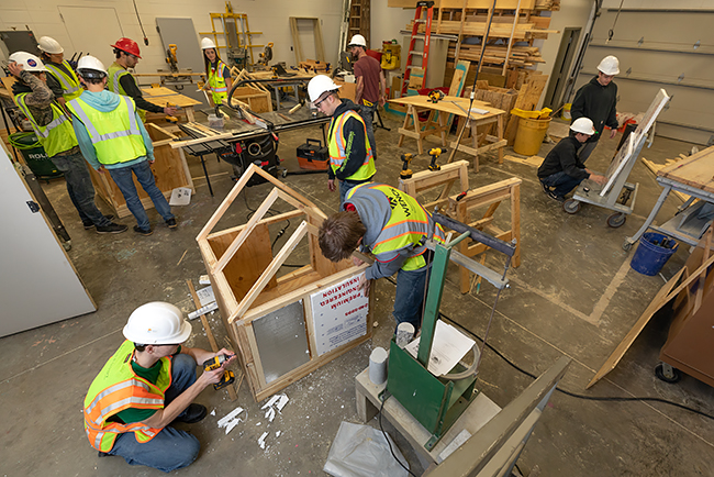 Construction Management students work in the Construction lab.