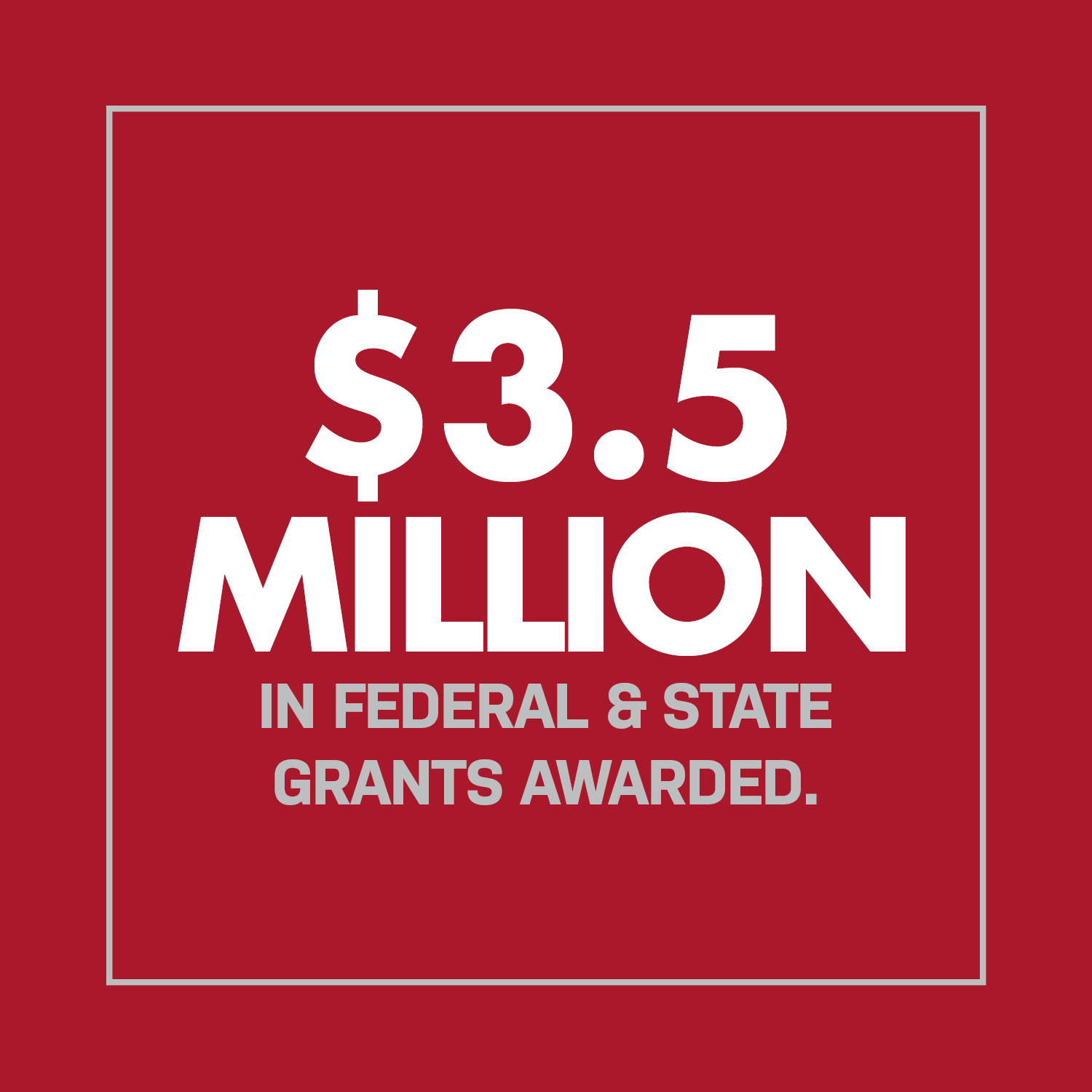 $3.5 Million in Federal & State Grants Awarded.