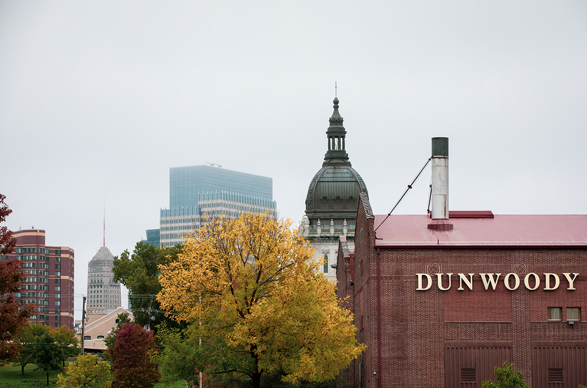 Dunwoody campus in the fall showing Minneapolis in the background