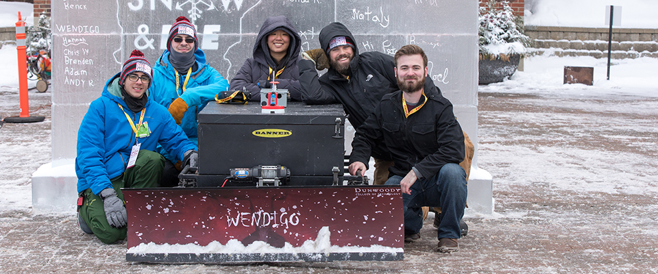 Team Wendigo - one of three Dunwoody teams entered in the Autonomous Snowplow Competition