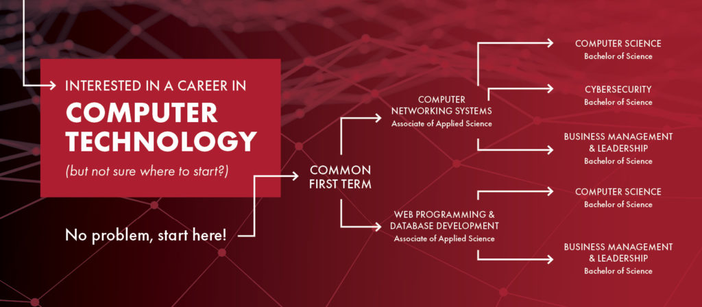 Infographic outlining Computer Degree paths