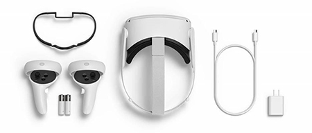 Photo of an oculus quest 2 virtual reality headset plus accessories