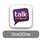 Talk One 2 One logo, white and orange text against purple background